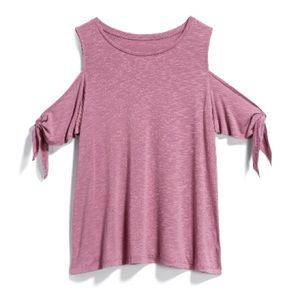 Dusty Rose/Pink Cold Shoulder Tie Sleeve Knit Tee